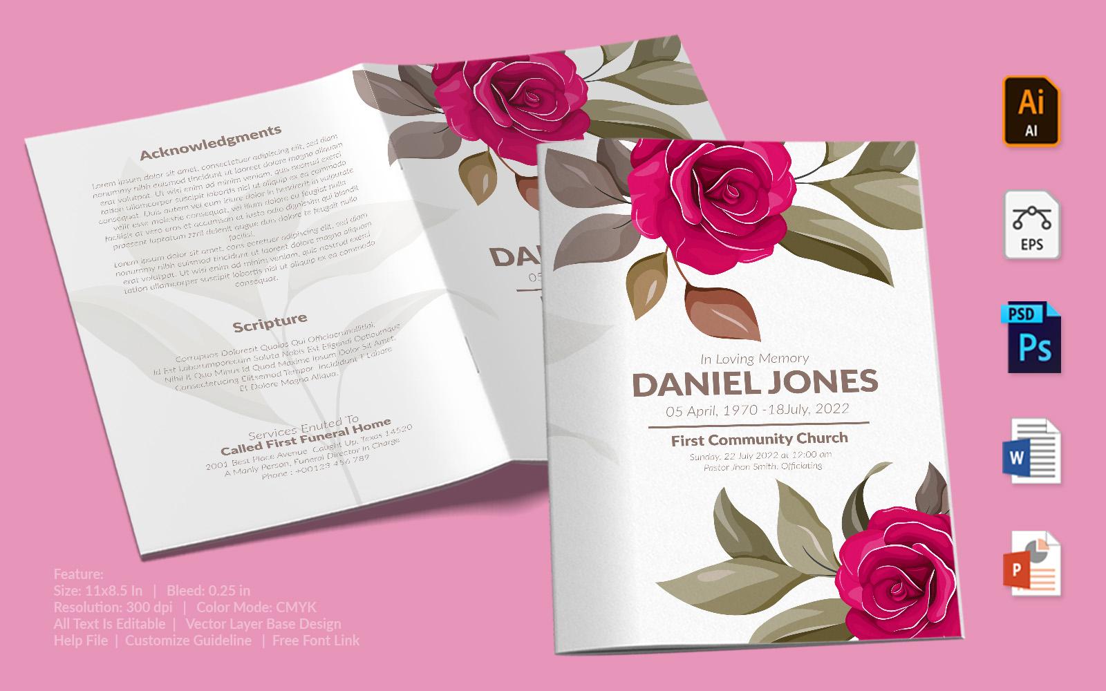 Printable Funeral Program - Beautiful Illustrated Rose Theme Template
