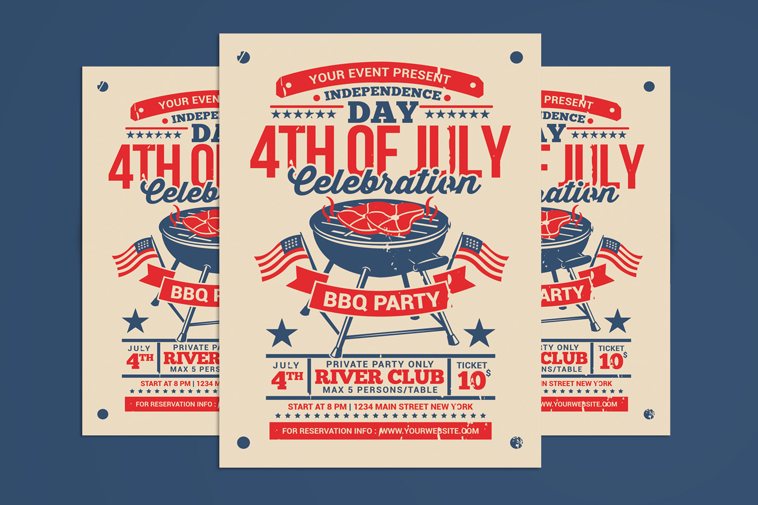 4th of July BBQ Party Celebration Poster