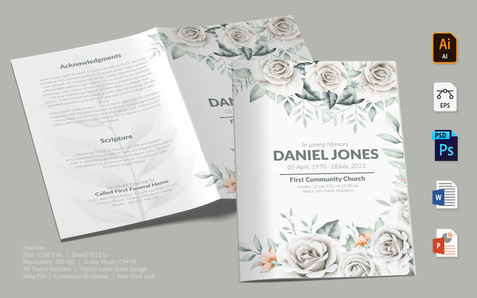 White Roses Design Printable Funeral Program Template
