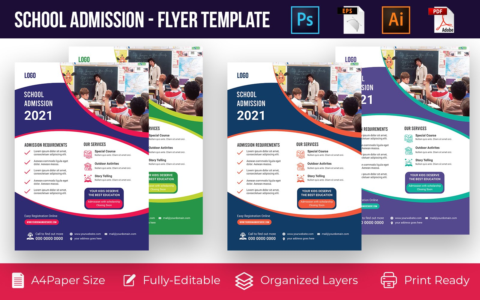 School Admission promotion flyer PSD, AI design volume-14