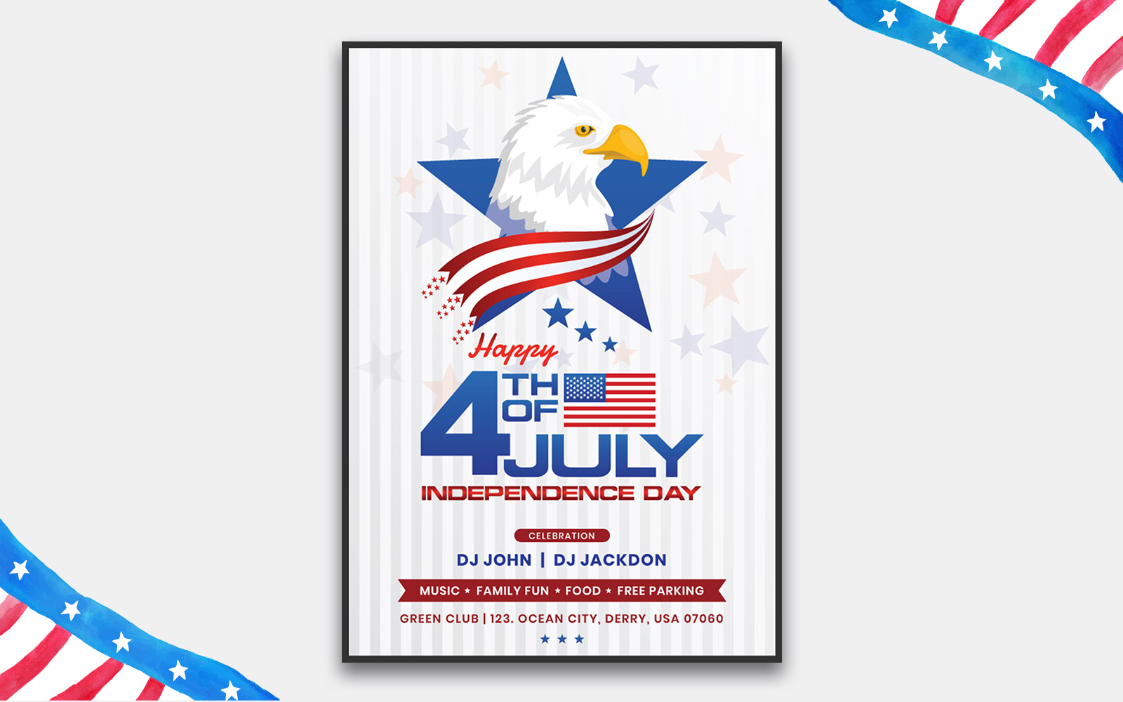 USA Independence Day Flyer - Eagle in Stars and Stripes Design