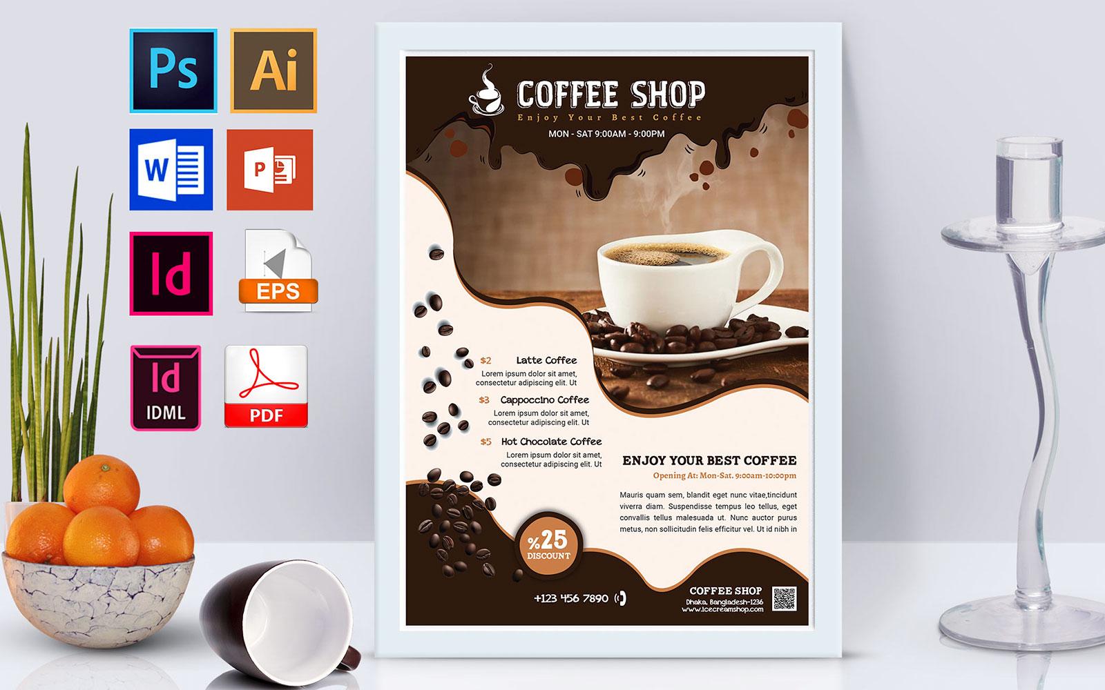 Coffee Shop Vol-02 Delicious Brown Poster Design