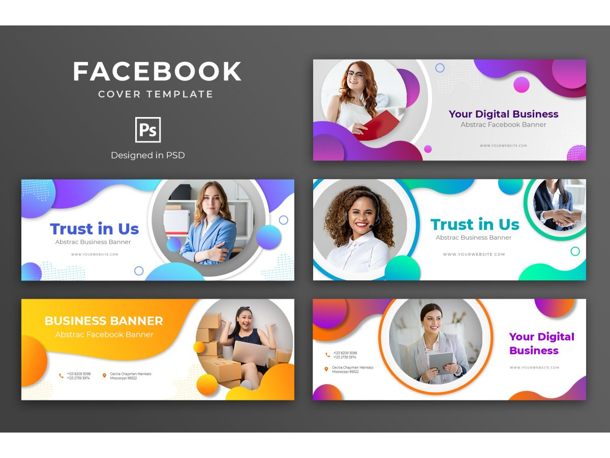Trendy Abstract and Fun Facebook Cover Template