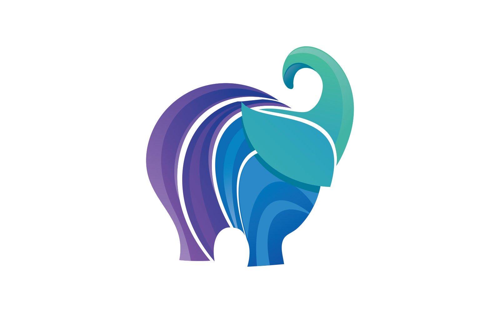 Elephant Gradient Purple and Blue Logo Template