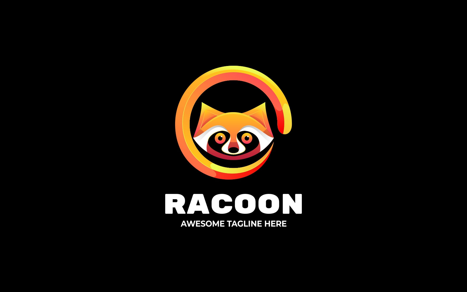 Raccoon in a Circle 3D Gradient Logo