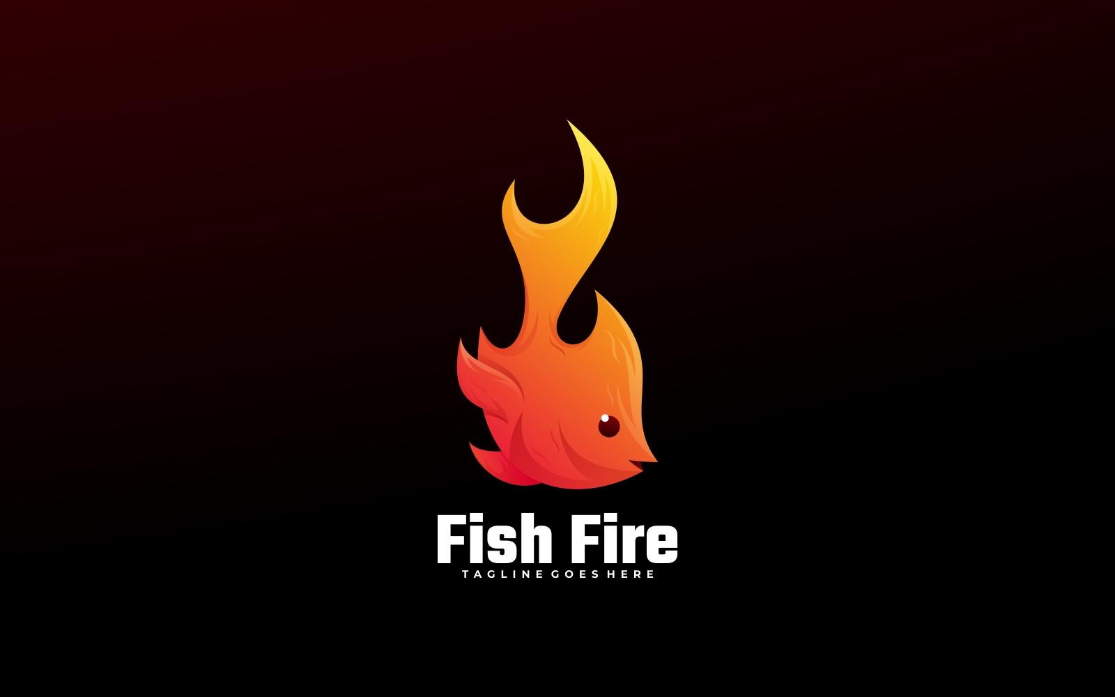 Fish Fire Gradient Logo Style - Shades of Orange