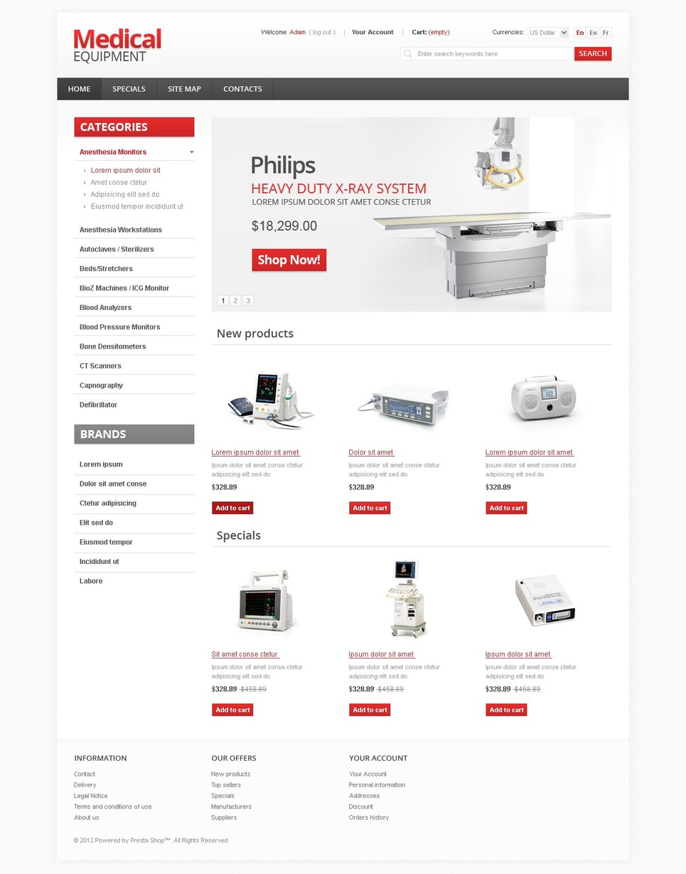 Medical Equipment PrestaShop Theme #36974