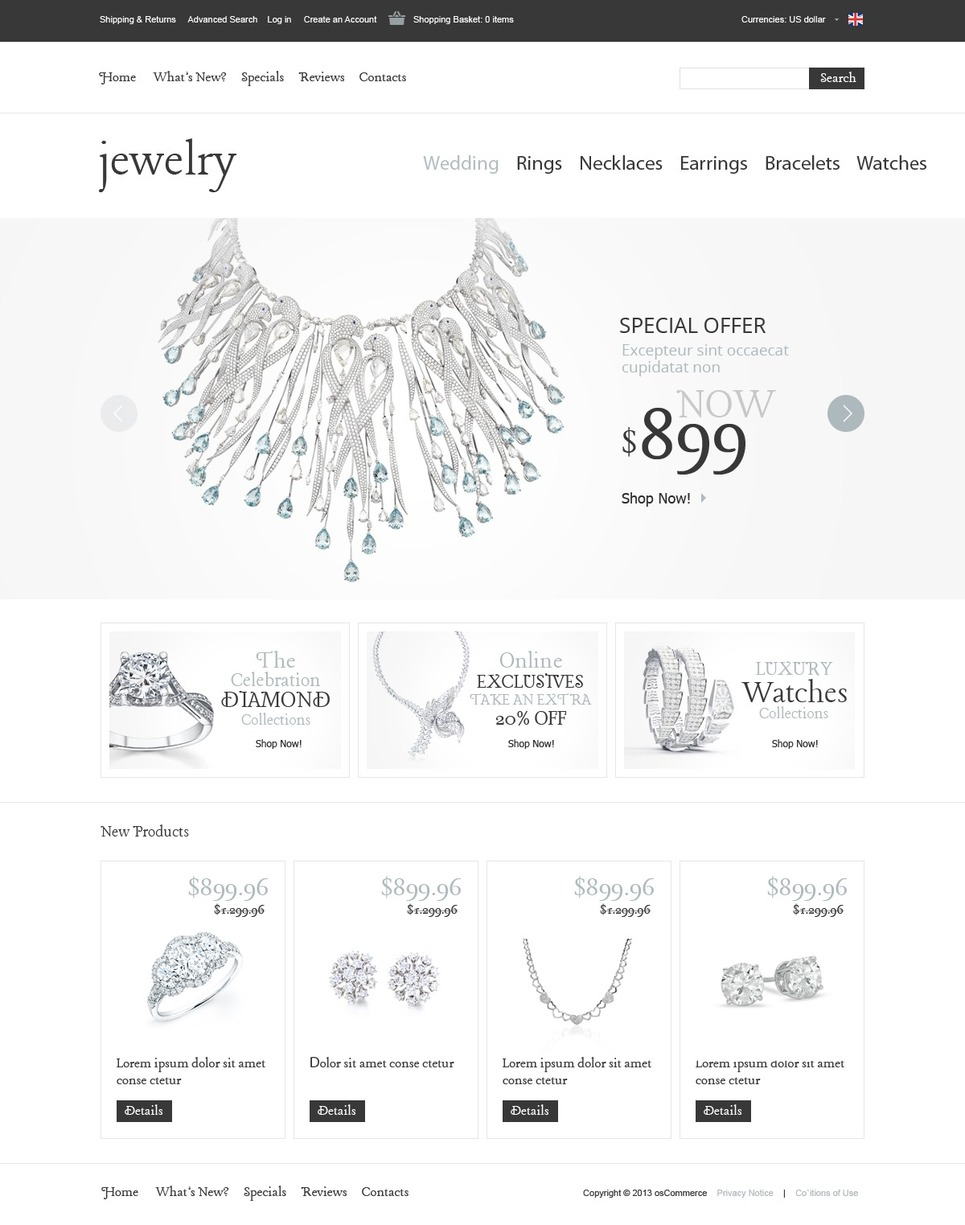 Swell Jewelry OsCommerce Template #42254