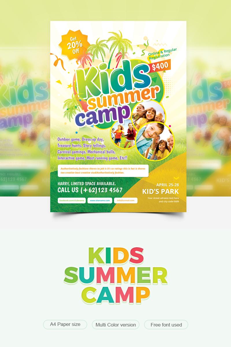 Colorful & Fun Kids Summer Camp Flyer Template Design