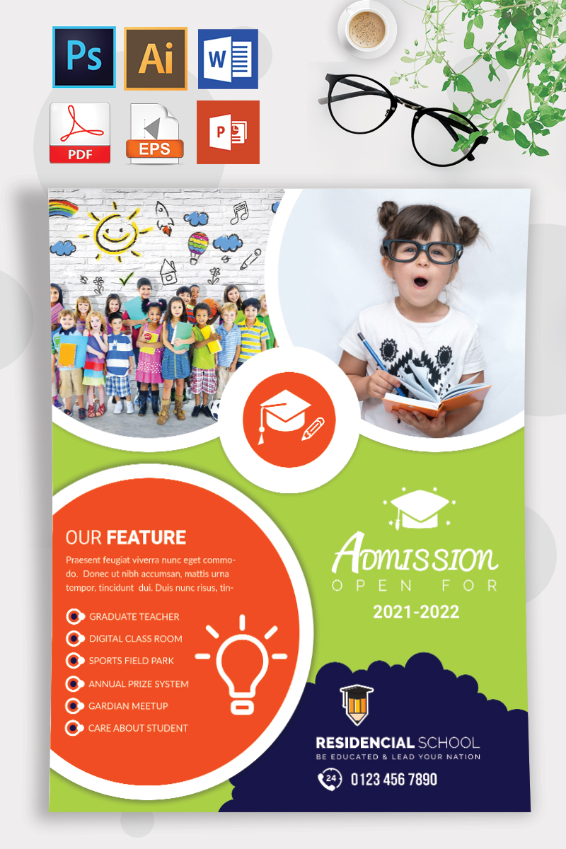 School Admission Flyer Vol-10 Template - Orange and Green Theme