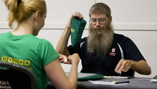 Mandatory Credit: Photo by Heathcliff O'Malley/REX (4260408g) Current World Champion Nigel Richards competing in the Scrabble Champions Tournament at the Excel Centre in east London which takes place for 5 days International World Scrabble Championships in London, Britain - 19 Nov 2014 /Rex_International_World_Scrabble_Championships_4260408G//1411201646