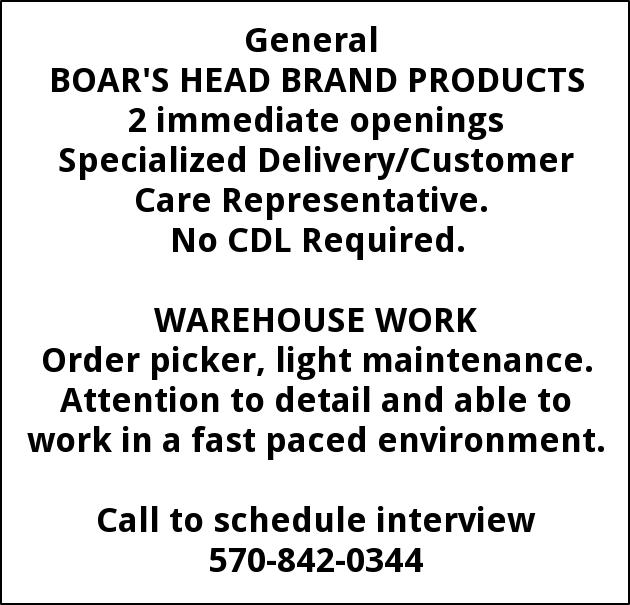 Specialized Delivery/Customer Care RepresentWarehouse