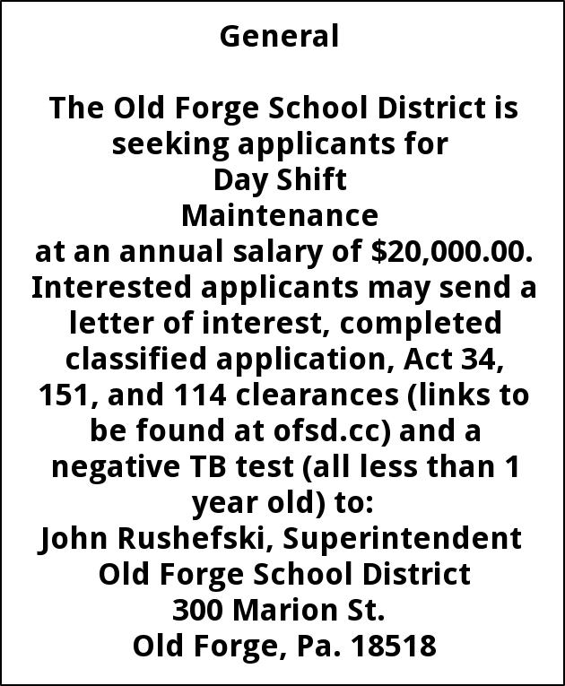 Maintenance, Old Forge School District, Old Forge, PA