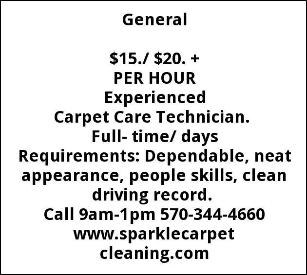 Carpet Care Technician, Sparkle Carpet Cleaning, Scranton, PA