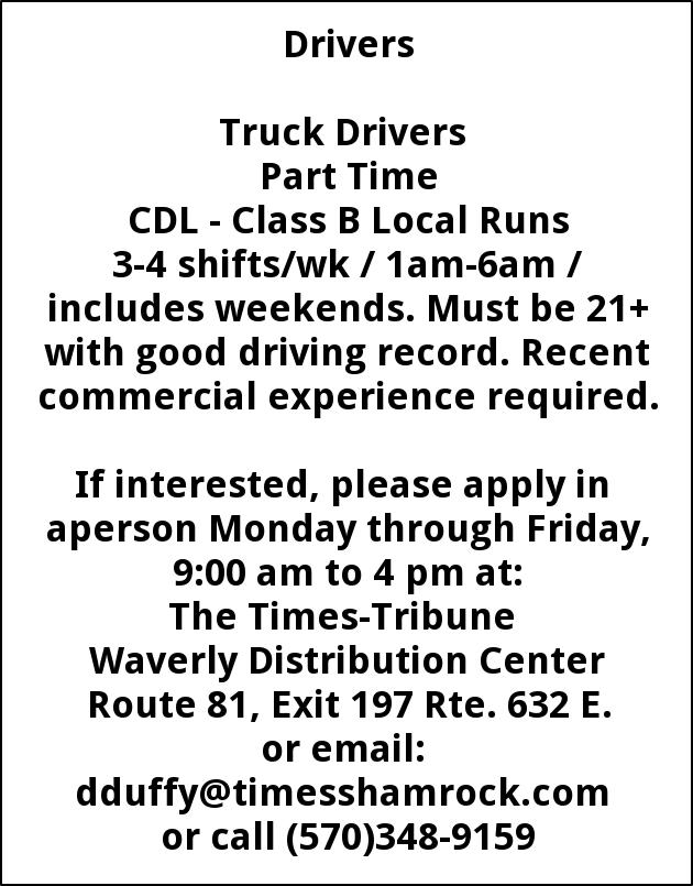 Truck Drivers, Times-shamrock Waverly Distribution Center