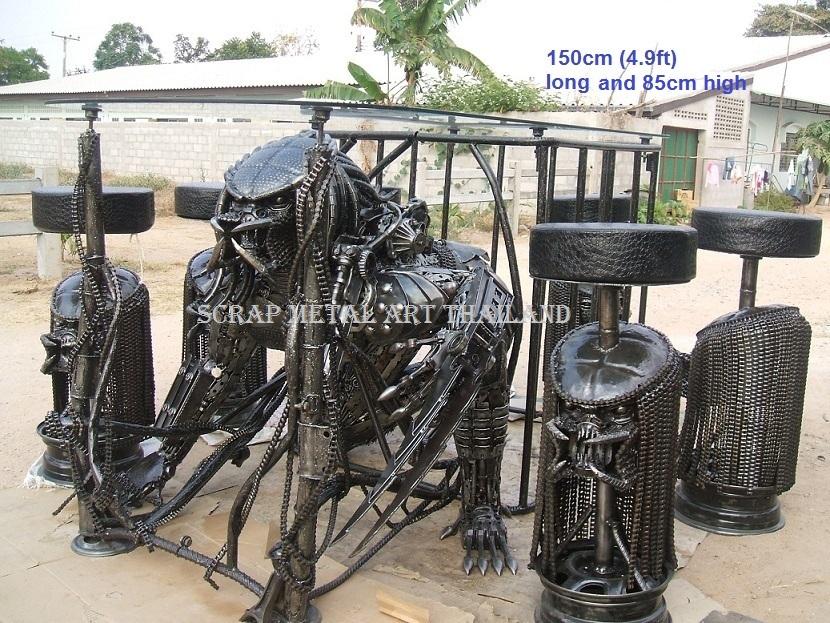 Scrap Metal Art Furniture, Alien Table, Spiderman Table