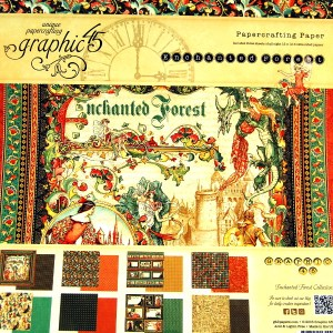 Bloc papel scrap 24 hojas 30x30 Enchanted Forest Graphic45 cardmaking,scrapbook