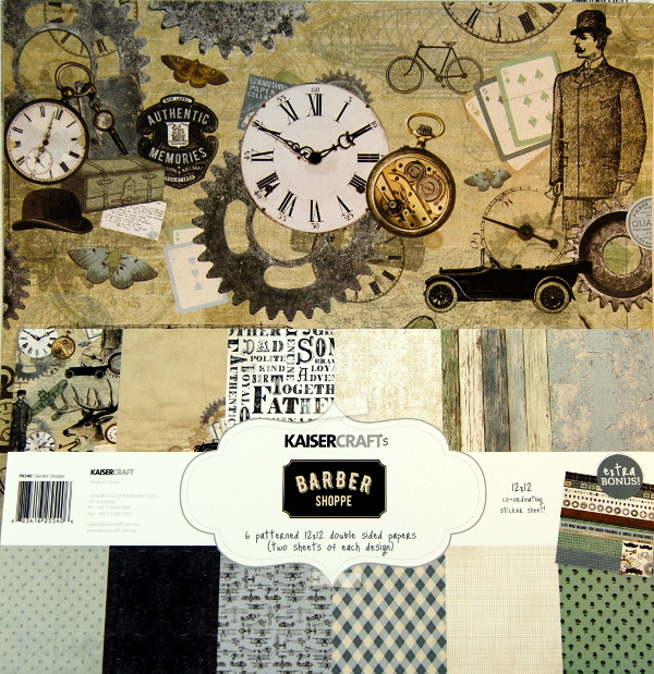 Bloc papel scrap 30x30 barber shop Kaiser Craft,scrapbook,cardmaking
