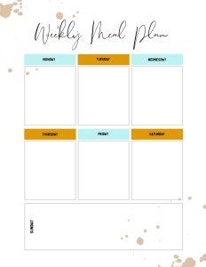 menu plan list