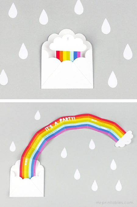 Free Printable Rainbow Party Invitation from Mr. Printables