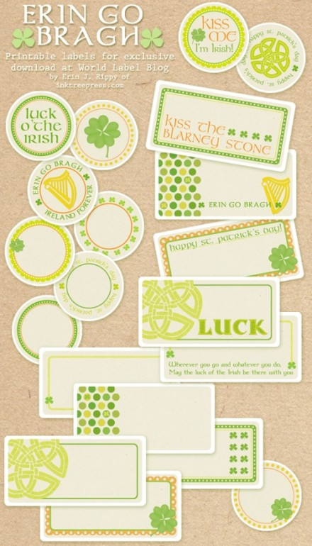 St. Patrick's Day Labels from Worldlable - designed by Inktreepress