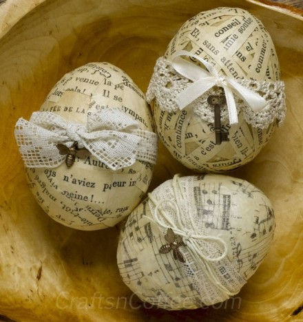 paper decoupage eggs tutorial from Crafts n Coffee
