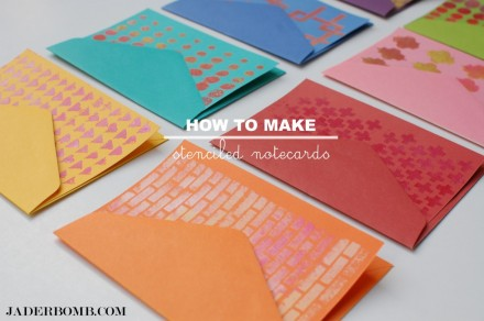How to Make Stenciled Notecards from Jaderbomb