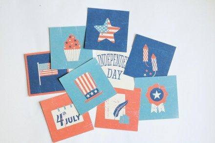 Freebie - 4th of July 4x4 cards from Persnickety Prints