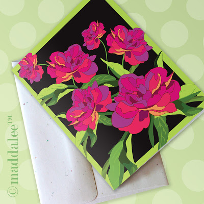 Freebie - Printable Peony Card from Maddalee