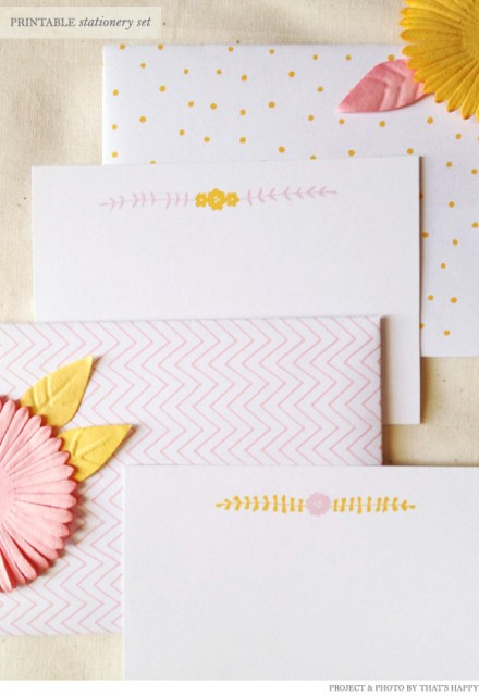 Freebie - That's Happy Printable Stationery from Creature Comforts