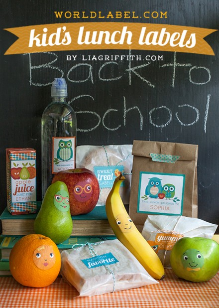 Freebie - Personalized Kids Lunch Labels by Lia Griffith