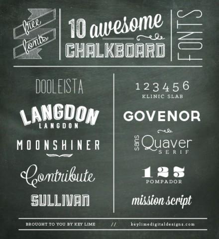 Freebie - 10 Chalkboard fonts compiled by Key Lime Digital Designs