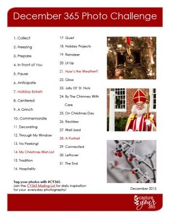 Freebie - December Capture Your 365 Photo Challenge List