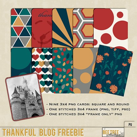 Freebie - Thankful Journaling cards from Bee Tree Studios