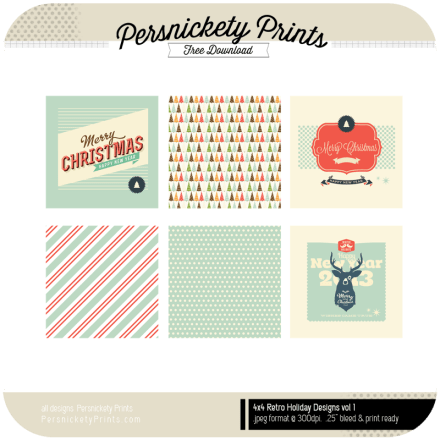 Freebie - Retro 4x4 Holiday Cards from Persnickety Prints