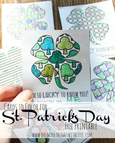 St.-Patricks-day-Coloring Cards from Do Small Things With Love