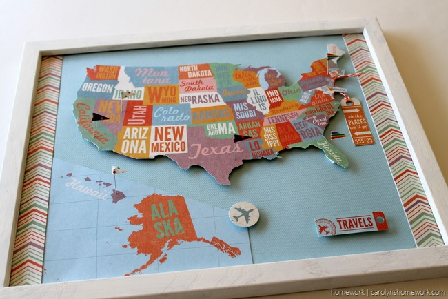 Show Tell USA Pin Map Track Your Travels Scrap Booking