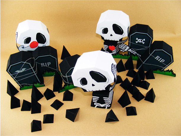 Blog_Paper_Toy_papertoy_Ouch_My_Head_Graveyard Halloween Scene