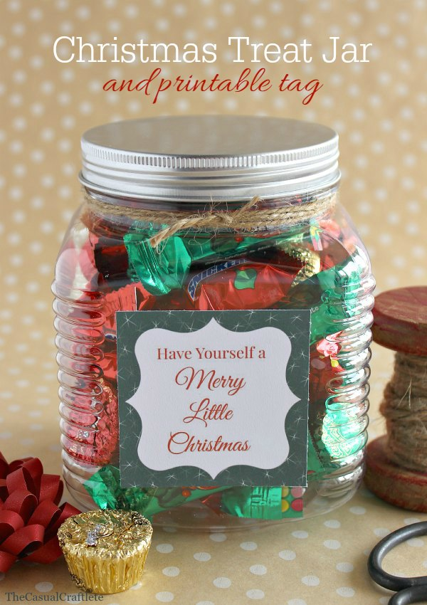 Four Christmas Treat Jar ideas + Printable Tags