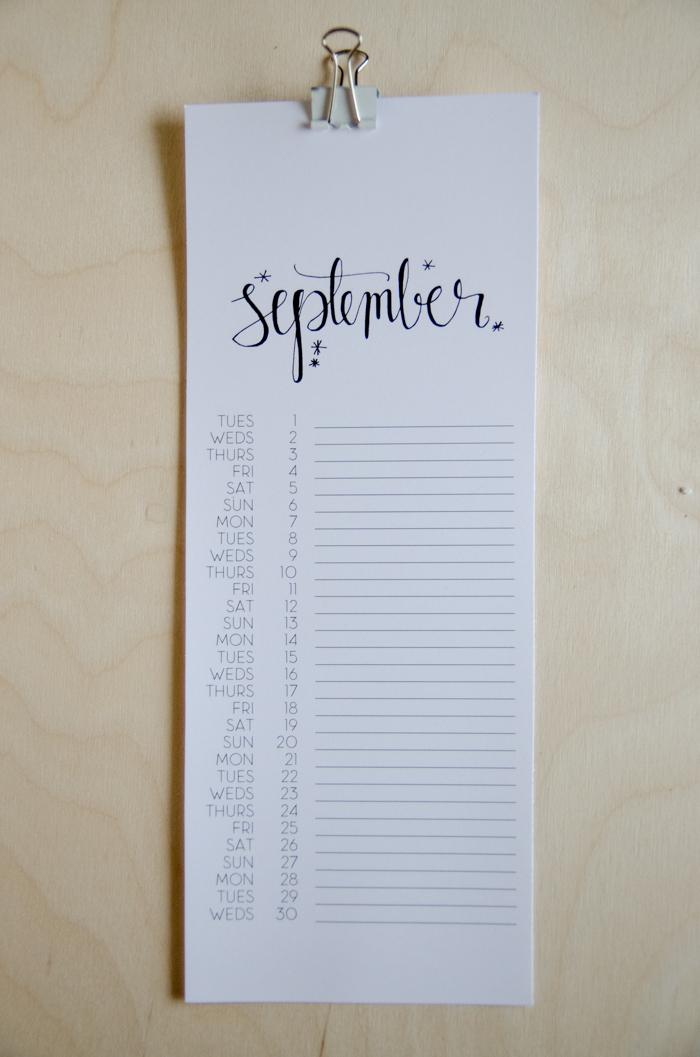 2015 printable calendar from Lemon Thistle