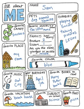 Freebie - All About Me Back-to-School Doodle Sheet