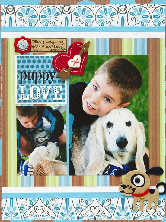 Puppy Love Scrapbook Layout at BHG