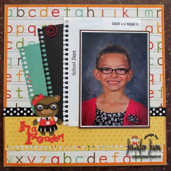 Single Photo BAck to School Scrapbook Layout 6