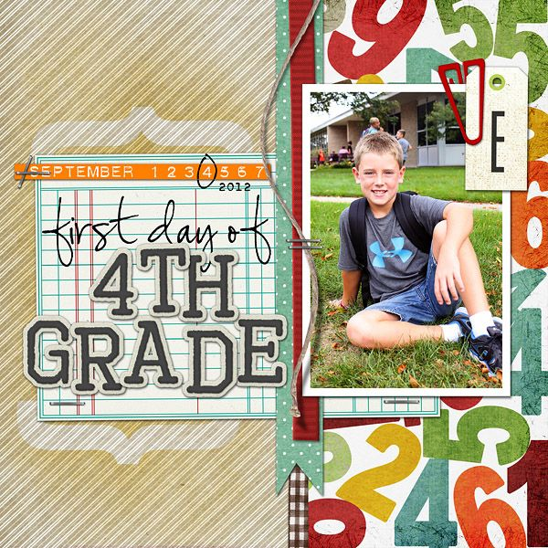Single Photo BAck to School Scrapbook Layout 7