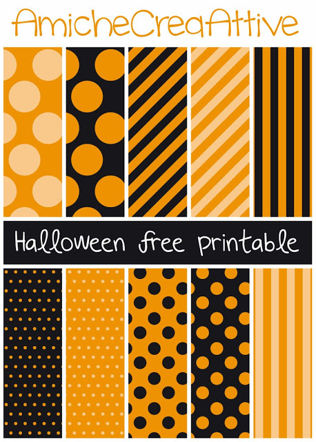 image about Printable Halloween Paper identify Orange Black; Dots Stripes Printable Halloween Papers