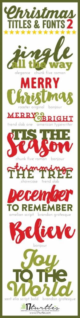 even more christmas titles fonts  digital cut file