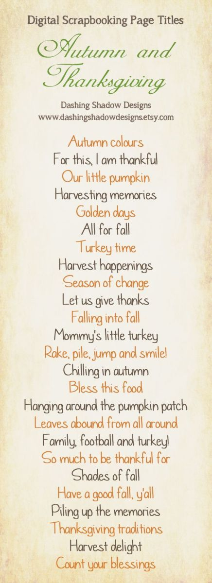Autumn Thanksgiving Scrapbook Page Title Ideas Scrap Booking