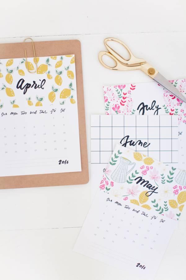 2016 free calendar printable