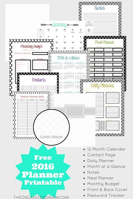 Free 2016 Planner printable from The Organized Dream