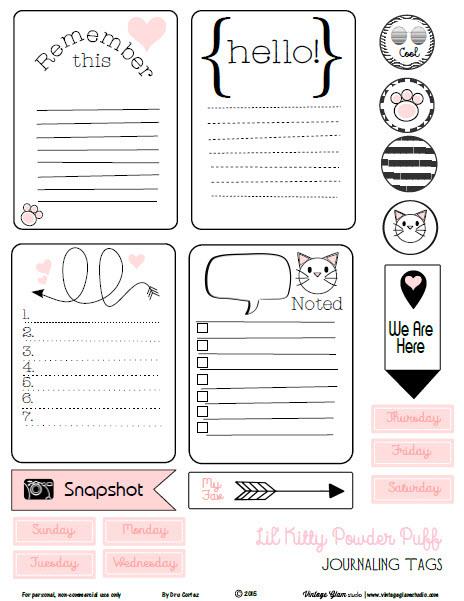 Free Kitty Powder Puff Journaling Cards